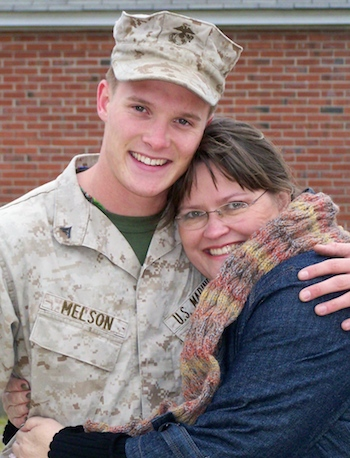 Edie and her son Jimmy at his second deployment.