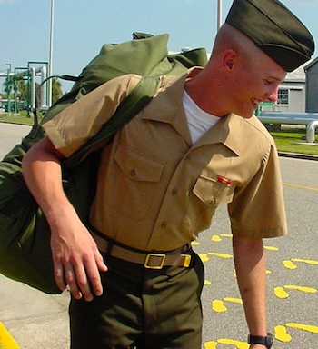 Edie's son Jimmy as an enlisted Marine