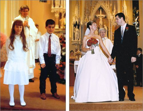Evan and Bryan at their first communion and years later, at their wedding.