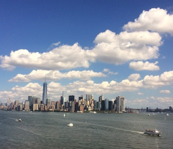 View of New York City skyline featuring the Freedom Tower