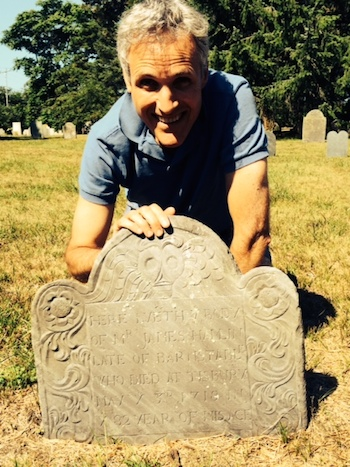 Rick Hamlin with his ancestor James Hamlin's headstone in Martha's Vineyard.