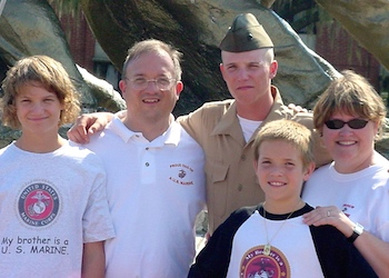 Edie's family with her Marine son Jimmy.