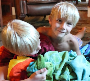 Shawnelle's boys tussle over the towels.