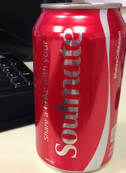 "Can of soda with word ""soulmate"" on it"