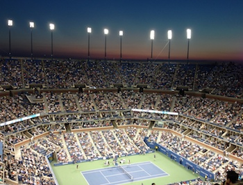 A view of the court at the U.S. Open from Row V.