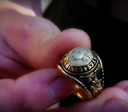 Edie's son's graduation ring