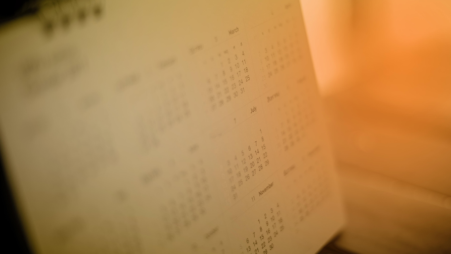The pages of a calendar