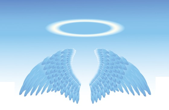 an illustration of angel wings topped with a halo