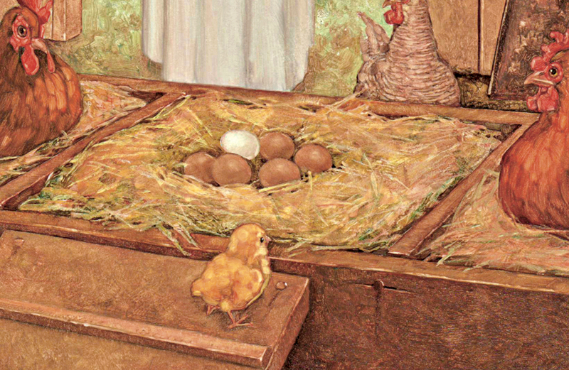 An artist's rendering of a a white egg atop a stack of brown ones in a henhouse
