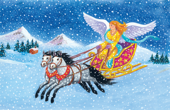 An artist's rendering of a flying horse-drawn sleigh being driver by an angel