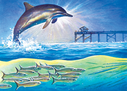 An artist's rendering of a dolphin leaping from the water