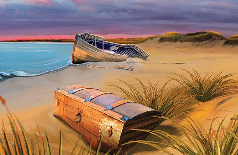 An artist's rendering of an abandoned dinghy and a locked chest on  a beach.