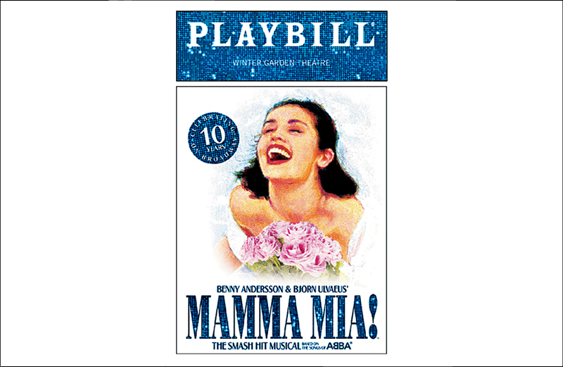 "A Playbill from the Broadway production of ""Mamma Mia!"""