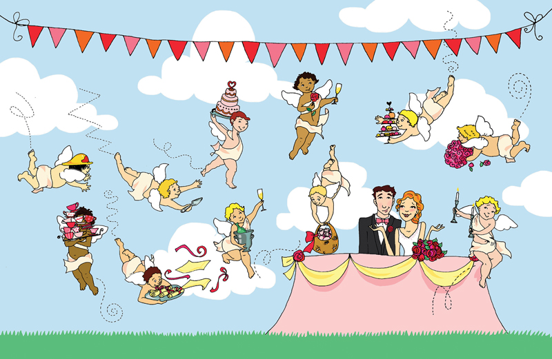 An artist's rendering of a happy outdoor wedding
