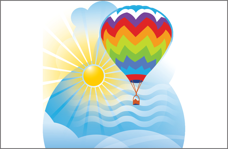 An artist's rendering of a colorful hot air balloon rising over the clouds