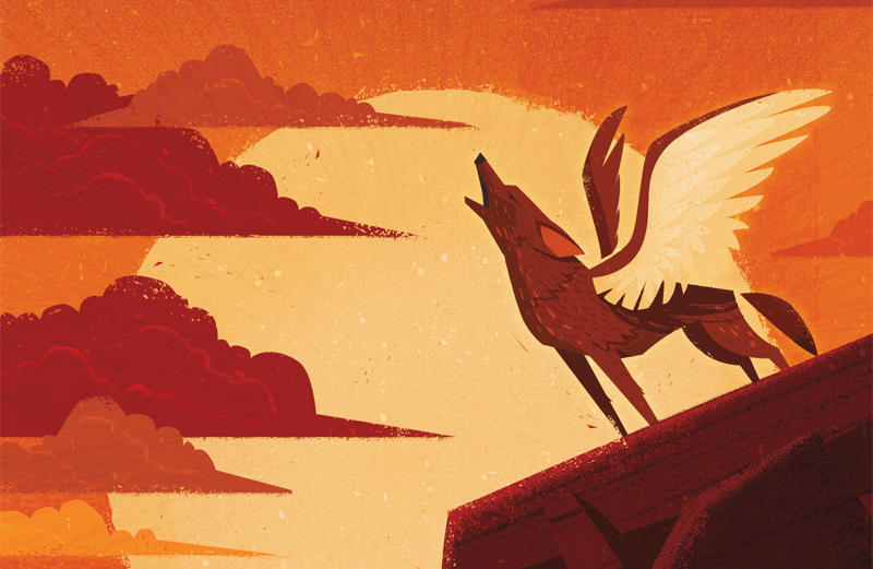 An artist's rendering of a coyote angel