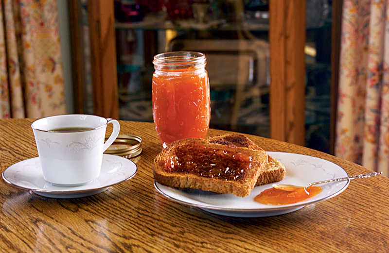 Apricot jam on whole wheat toast
