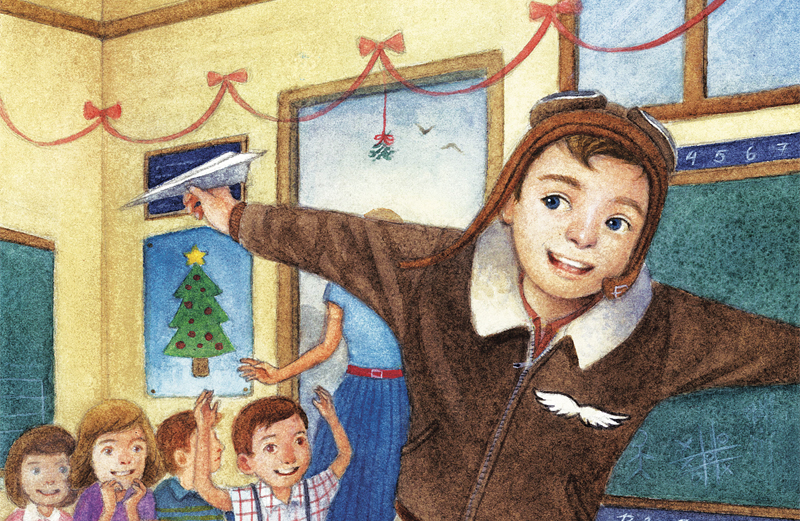 An artist's rendering of a young boy in aviator's gear, pretending to fly