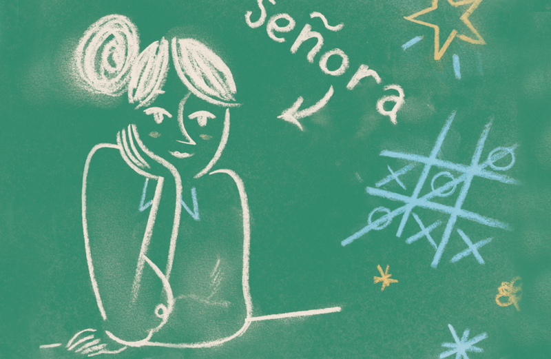Artist's rendering of a chalkboard with a drawing of a teacher labeled Senora