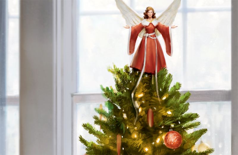 An artist's rendering of an angel atop a Christmas tree