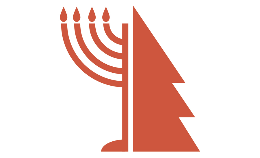A combo menorah and Christmas tree