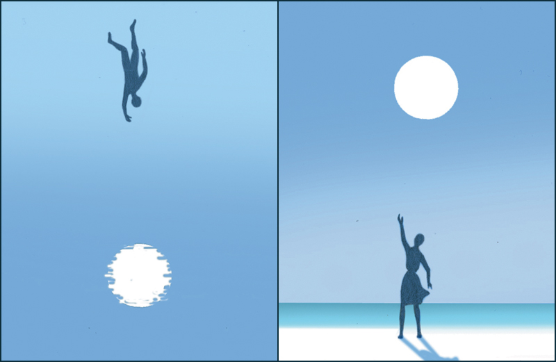 Side-by-side illustrations of a man adrift and a woman waving from shore
