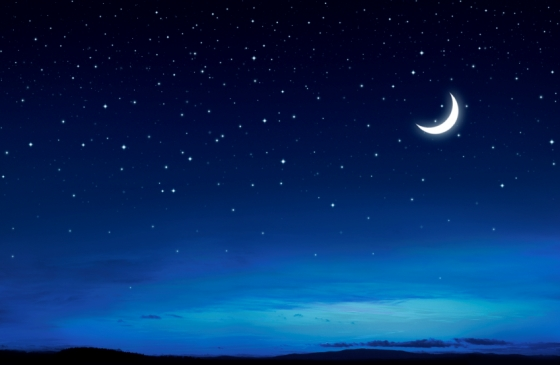 Crescent moon on a gorgeous starry night.
