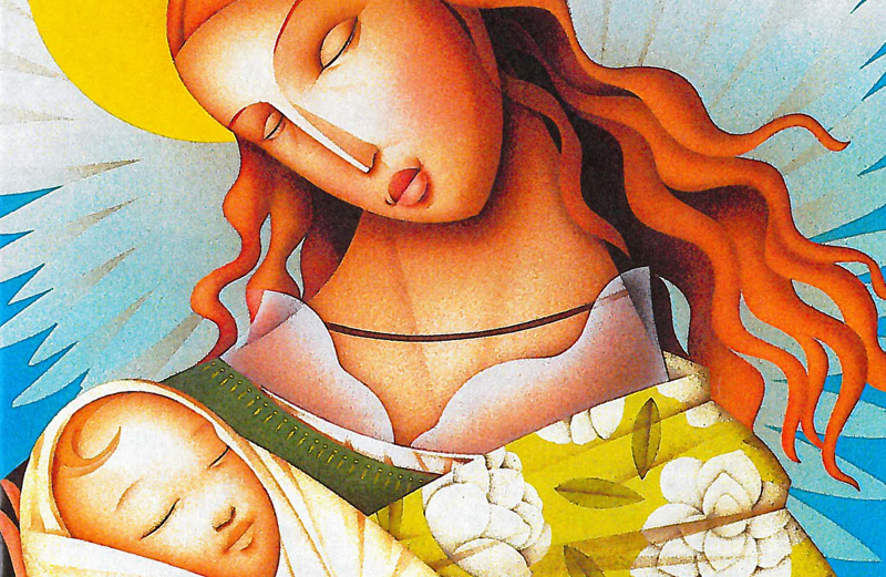An artist's rendering of a angel cradling a tiny baby in her arms