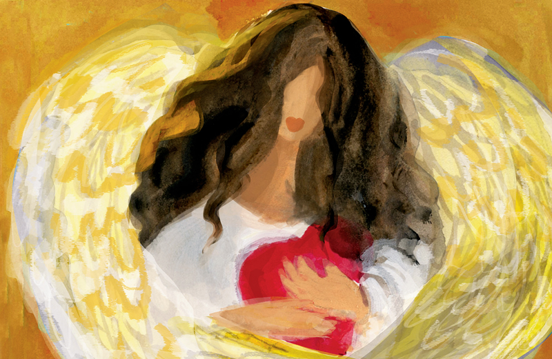An artist's rendering of an angel clasping a heart to her chest
