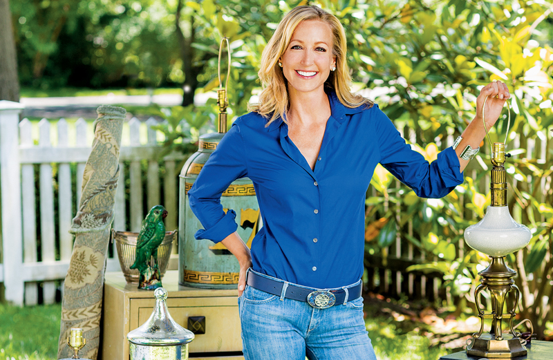 Lara Spencer poses with some of her flea-market finds