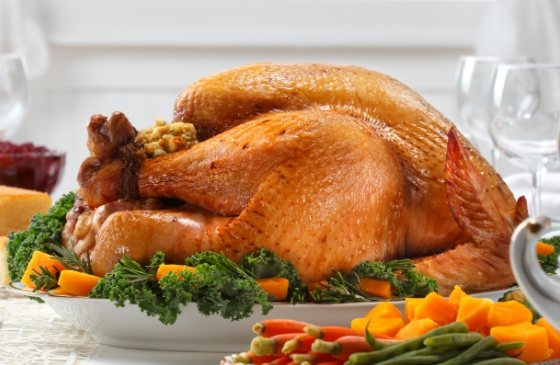 Delicious Thanksgiving dinner with turkey and fixings.