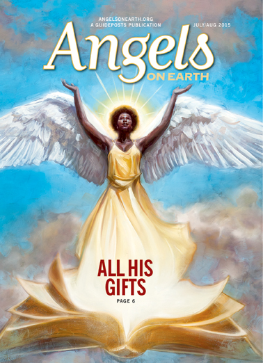 An angel illustration on the cover of the July-August 2015 edition of AOE
