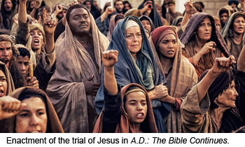Enactment of the trial of Jesus in A.D.: The Bible Continues.