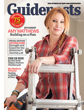 Amy Matthews on the cover of the May 2020 issue of Guideposts
