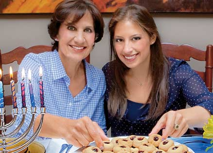 Rebecca Sahn and her mom celebrate Hanukkah with jelly thumbprint cookies.