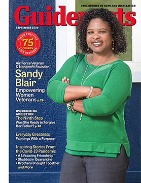 Sandy Blair on the cover of the September 2020 issues of Guideposts
