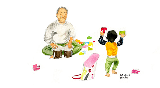 Chan Jae Lee's drawing of a himself with his grandchild
