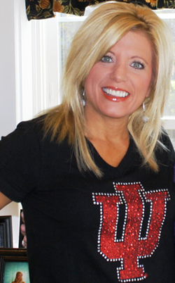 Michelle wearing an IU basketball t-shirt
