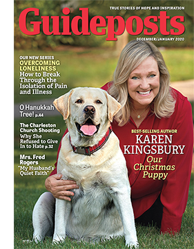 Karen Kingsbury and her dog, Toby, on the cover of the Dec-Jan 2020 issue of Guideposts magazine