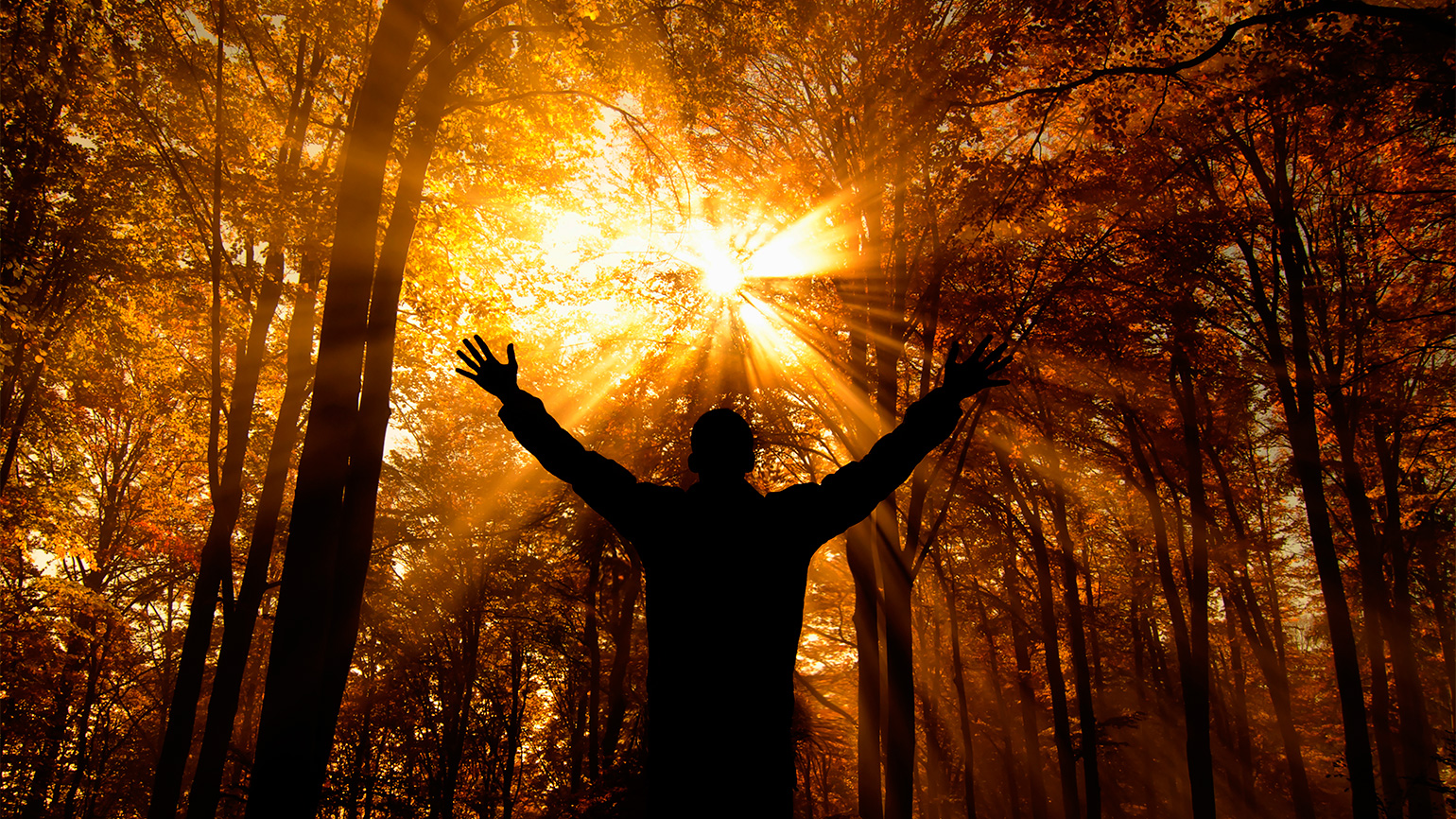 Man facing the sun with outstretched arms