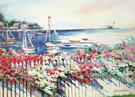 An artist's rendering of a scenic setting on Nantucket Island