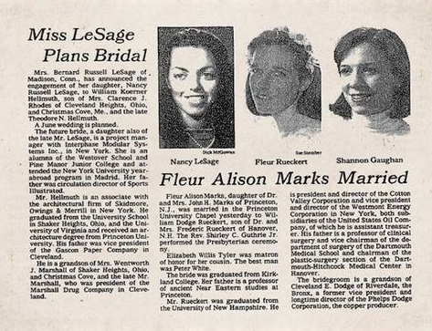 Wedding announcements in the New York Times.
