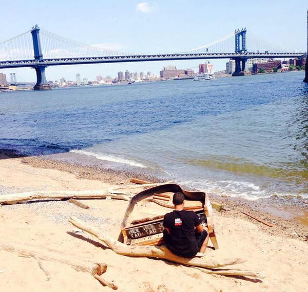 What remains of a grand piano on the banks of NYC's East River