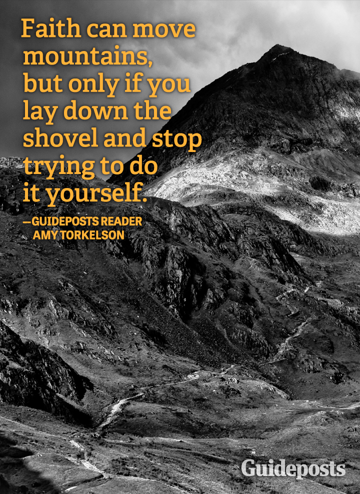 Faith Quote Amy Torkelson mountains shovel