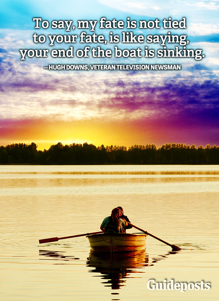 Teamwork Quote Hugh Downs end of the boat sinking fate