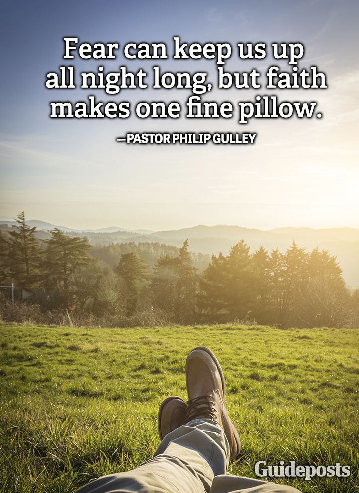 Faith quote Philip Gulley fear fine pillow