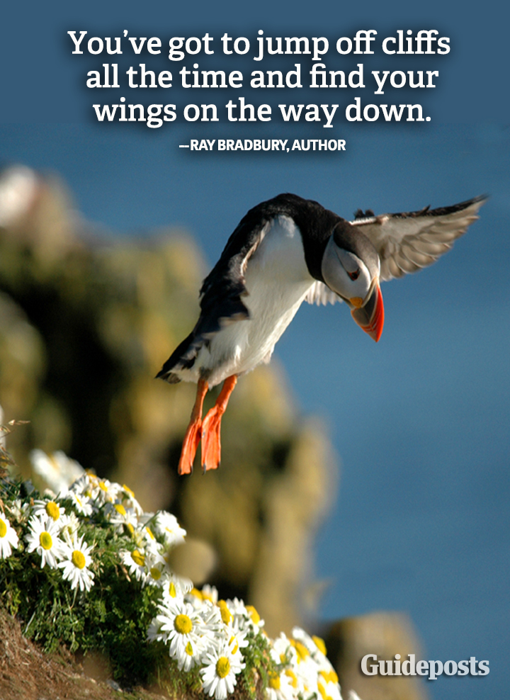 Motivation Graphic quote Ray Bradbury courage wings cliff