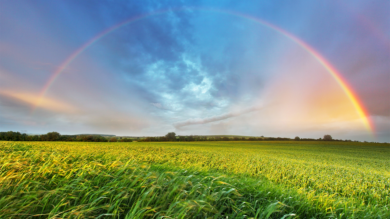 A rainbow arcs over green fields