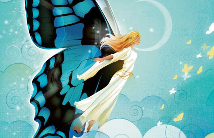 An artist's rendering of an angel with blue butterfly wings