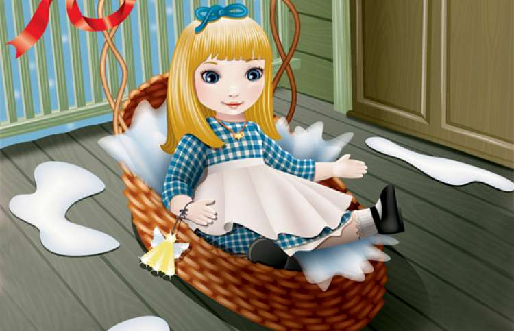 An artist's illustration of a doll in a basket left on a doorstep